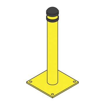 yellow capped bollard