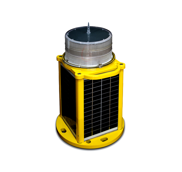 yellow solar powered low intensity obstruction light