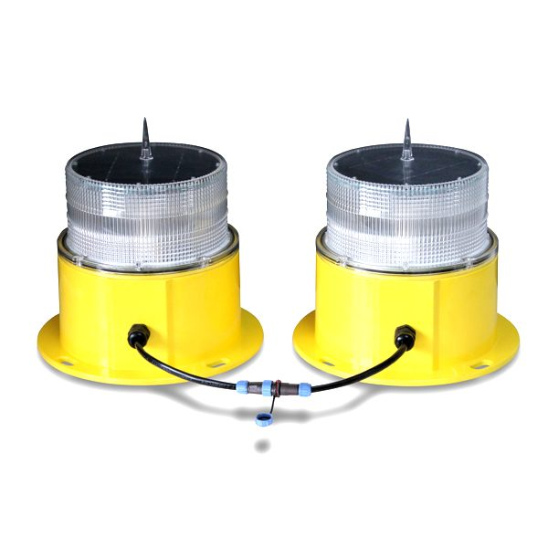 yellow double solar powered obstruction light