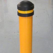black capped yellow bollard