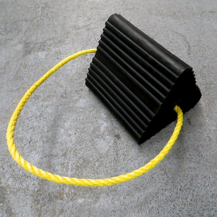 black aircraft wheel chock