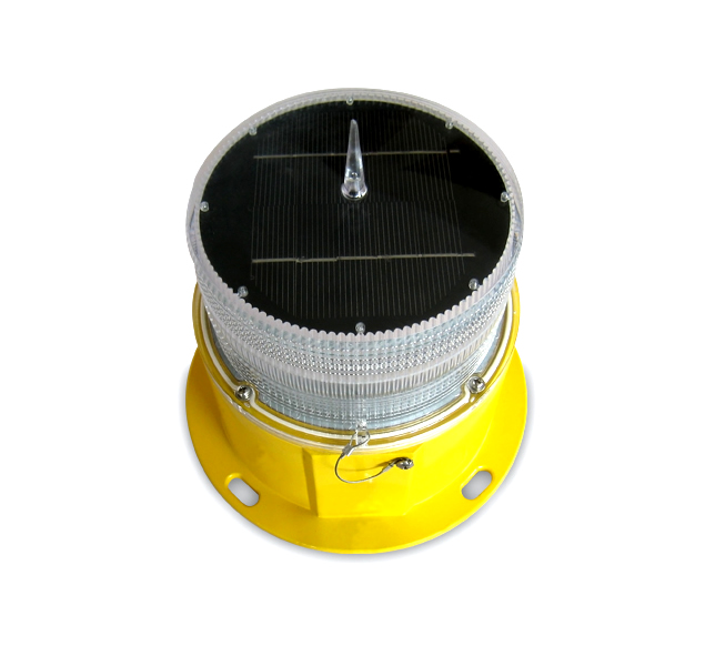 yellow solar powered obstruction light