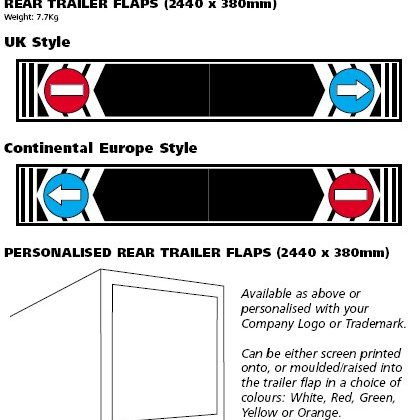 personalised rear trailer flaps for europe and uk