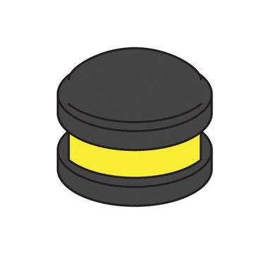 bollard cap with yellow reflector