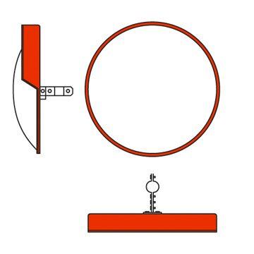 orange circle convex mirror