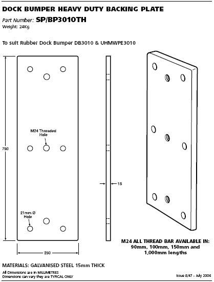 dock bumper heavy duty backing plate