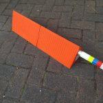orange lightweight pu chock with handle