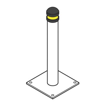 galvanised capped yellow bollard