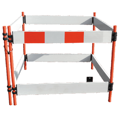white traffic barrier