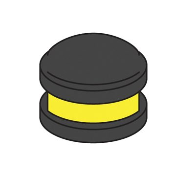 bollard cap with yellow reflector
