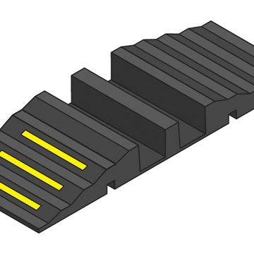 black hose ramp with yellow reflectors